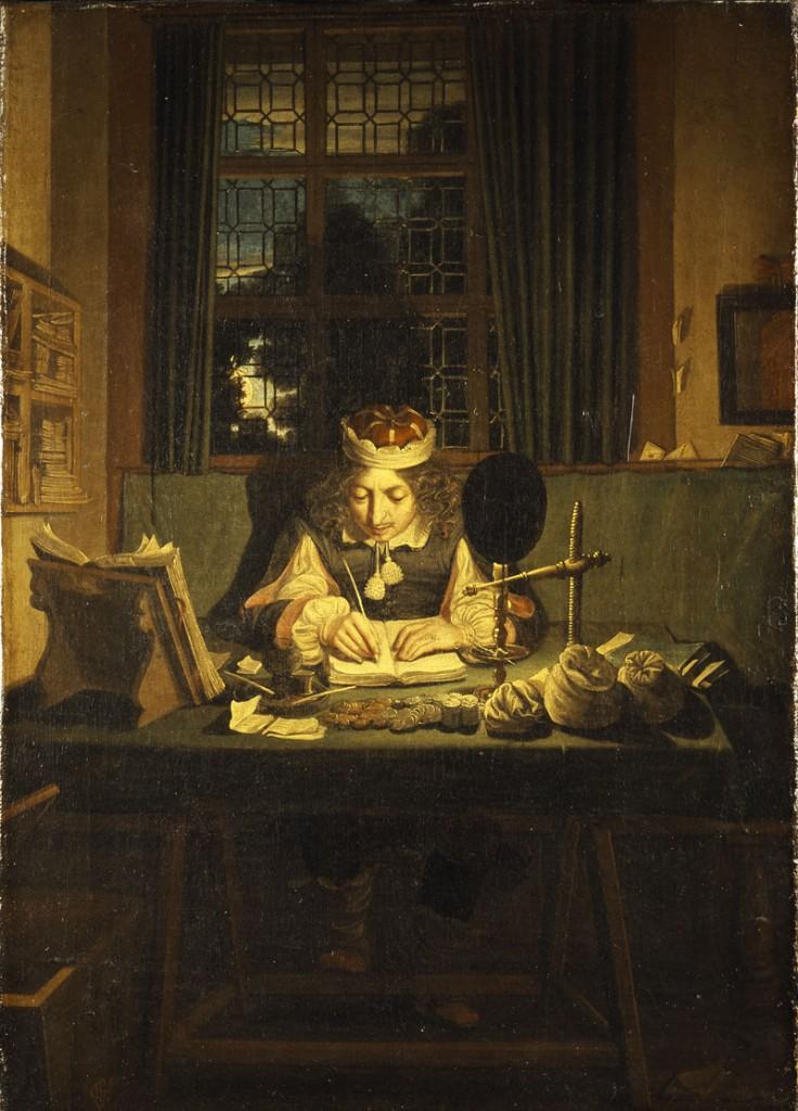 Slottsskriveren. Maleri av Wolfgang Heimbach, 1653. De Danske Kongers Kronologiske Samlinger, Rosenborg.
