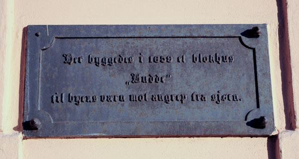 Foreningen Haldens Minders minneplate for blokkhuset Budde. Foto: Svein Norheim