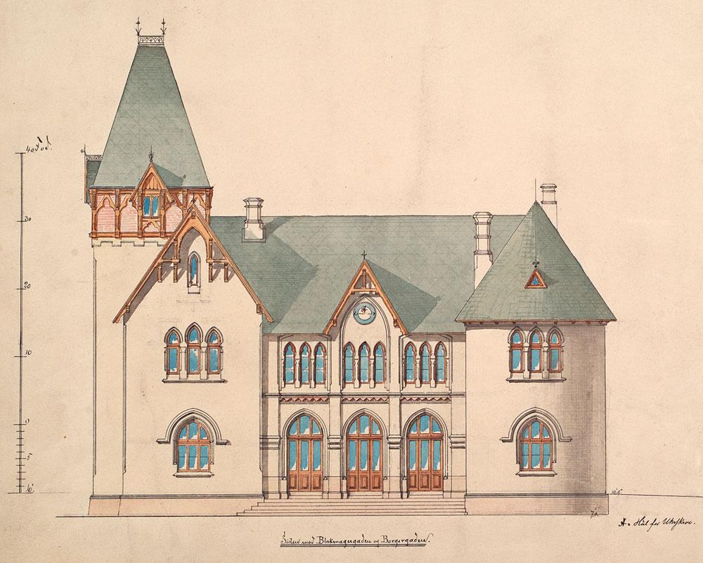 Arkitekt Blix sin tegning av østfasaden på Halden stasjon.