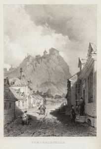 Storkleven, i dag Festningsgata, etter illustrasjon av Breton. Halden historiske Samlinger.