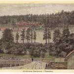 Jernbanens oppstigning til Tistedalen. Tegning av O. Amundsen 1881. Halden historiske Samlinger. Foto: Svein Norheim.
