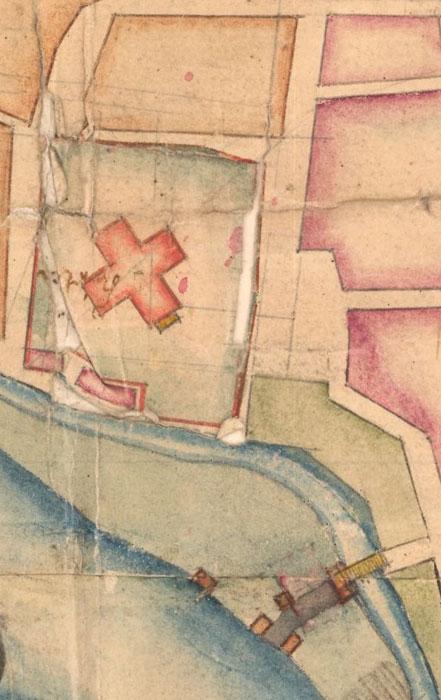 Kirkebatteriet markert ved kirken. Detalj av kart 1756. Statens kartverk