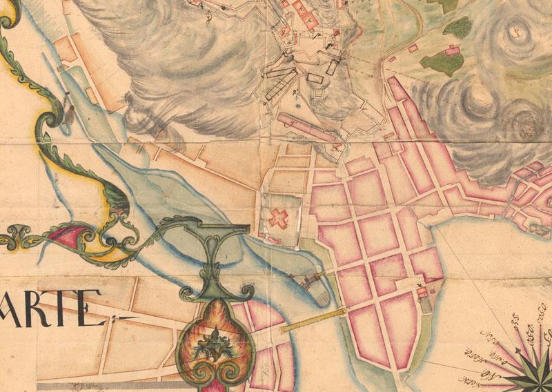 Kirkestedet med kanonbatteriene markert. Detalj av kart 1756. Statens kartverk