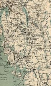 Kart over jernbanenettet i Smaalenene 1884