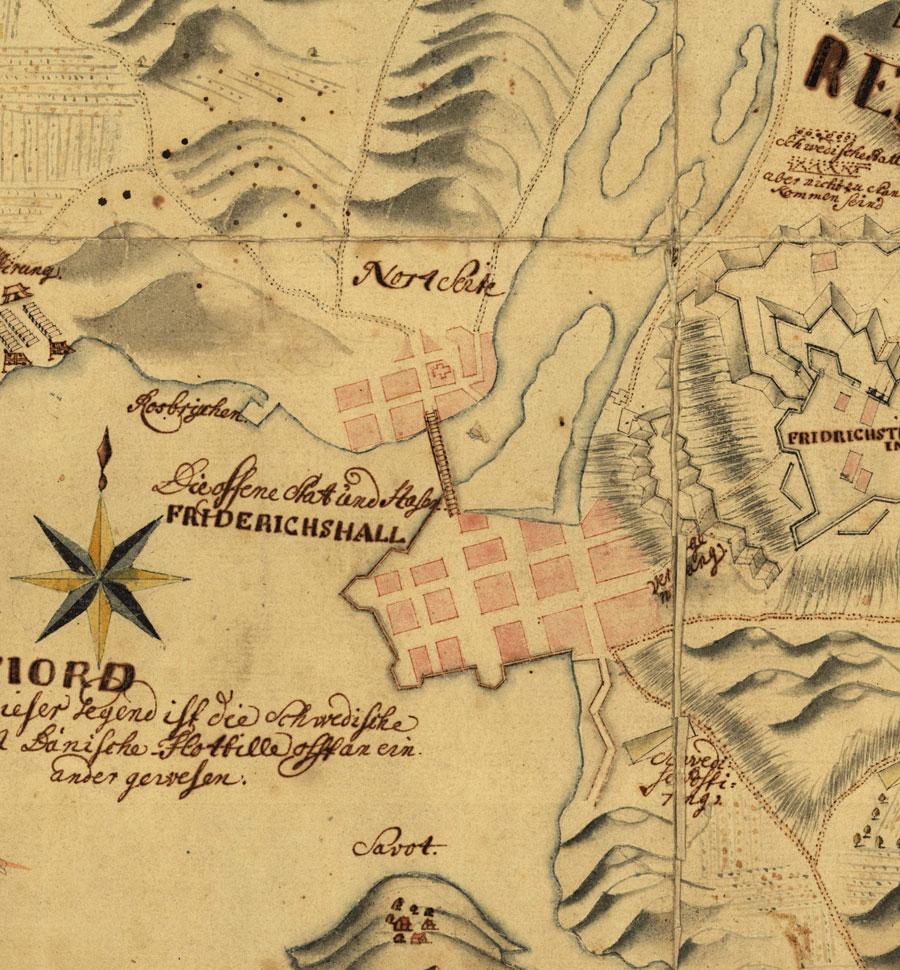 Detalj fra kart over Fredrikshald 1720 som viser Karl XIIs angrep 1718. Her ser vi plasseringen av begge kirkene Christian kirke og stedet for den avbrente Christi Herberge. Statens kartverk.