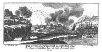 Angrepet i 1716. De svenske soldatene flykter over brua. I forgrunnen til venstre ses Kirkebatteriet. Ill. Tischbein. Halden historiske Samlinger.
