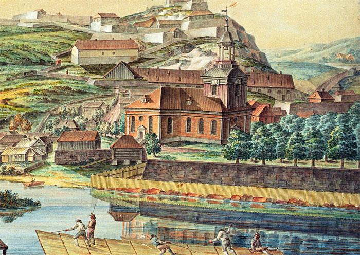 Detalj av Løffler illustrasjon der Kirkebatteriet tydelig ses. Halden historiske Samlinger.
