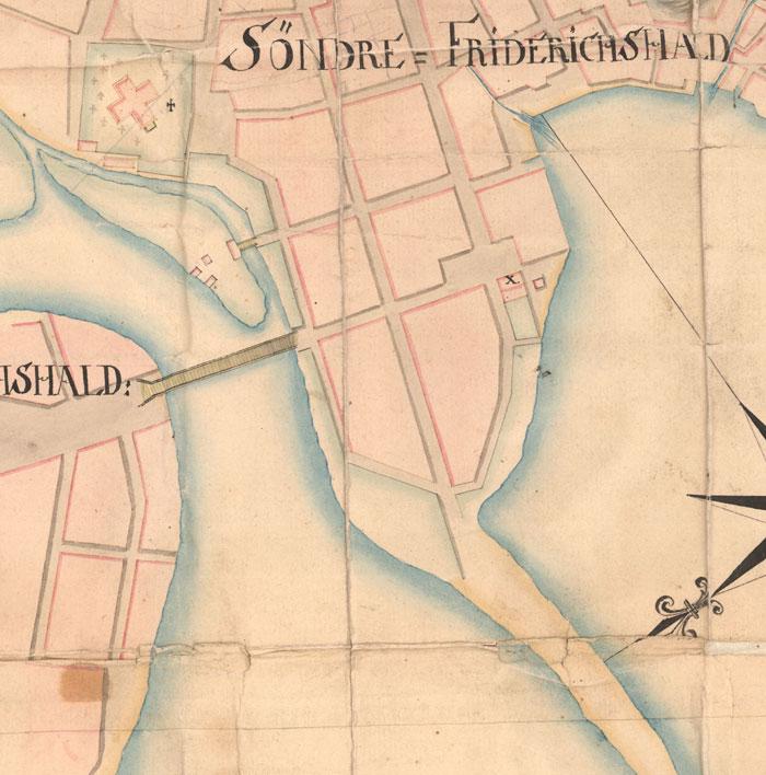 Kart fra 1760, detalj. Her ser vi kvartalene på nordsida. Statens kartverk.