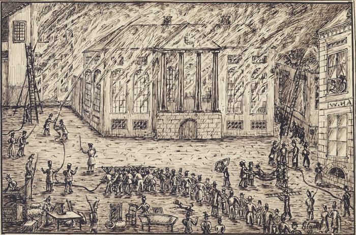 Rådhuset brenner på Halden torg 1855. Ill.: Glückstad. Halden historiske Samlinger.